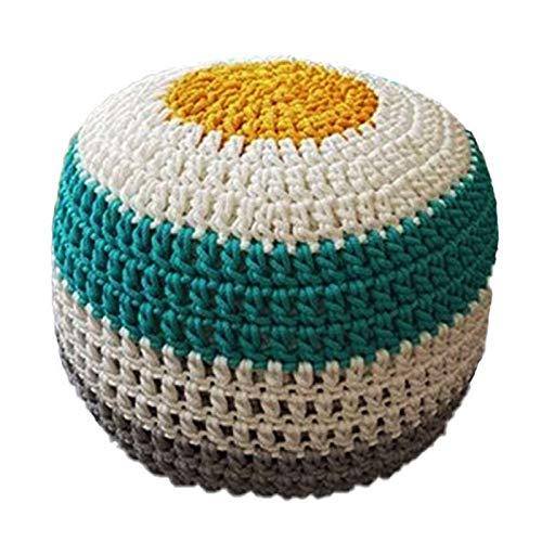 SCJ Reposapiés Redondo de Cuerda Tejida de algodón de 50x33 cm de Color de Costura Sala de Estar