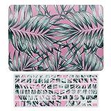 Para MacBook Air 13 de 13 pulgadas A1466, A1369 Carcasa rígida para MacBook Air 13 funda y cubierta de teclado, verde en rosa botánica hoja de helecho portátil protector Shell Set