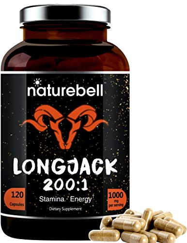 Long Jack Extract as Tongkat Ali 200:1, 1000mg Per Serving, 120 Capsules, Supports Energy, Stamina and Immune System for Men and Women, Super LongJack Pills, Non-GMO