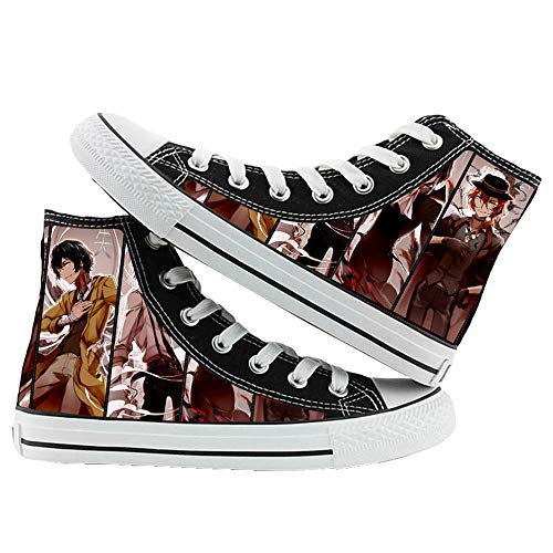 JPTYJ Bungo Stray Dogs Human Disqualification Alpargatas para Hombre Anime High Top Canvas Shoes Sneakers Trainers Cosplay Botines para Hombres Mujeres A-41