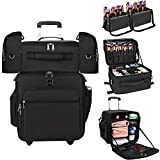 Relavel Rolling Makeup Case Professional Makeup Train Case Makeup Artist Travel Organizer 4 in 1 Extra Large Trolley Makeup Case with Detachable Cosmetic Case and Dual Makeup Brush Case and Wheels
