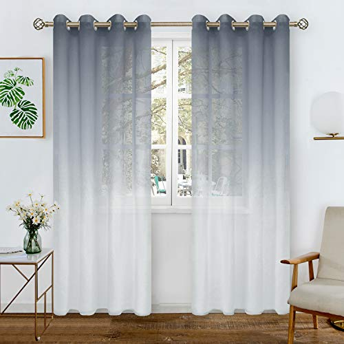 BGment Faux Linen Ombre Sheer Curtains for Living Room, Grommet Semi Voile Light Filtering and Privacy Curtains for Bedroom, Set of 2 Panels (Each 52 x 84 Inch, Bluish Grey)