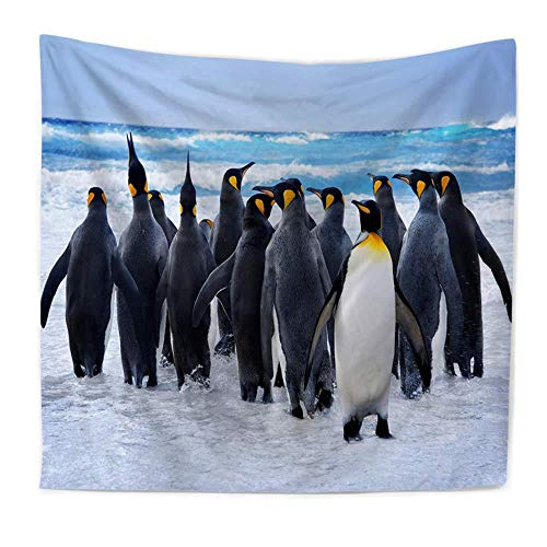 Mar Pingüino Tapiz Colgante De Pared Sala De Estar Dormitorio Decoración De La Pared Toalla De Playa Estera De Yoga Tela De Fondo,S/150x100cm,Bjqegt04