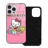 Custodia per iPhone 12 Hello Kitty mangia biscotti anti-impronta compatibile con iPhone 12, adatto per iPhone 12 Pro 6.1 /Max 6.7 Custodia in vetro ultrasottile e resistente