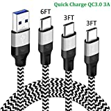 USB Type-C Charger Cord 3FT 3FT 6FT for Samsung Galaxy A50 A20 S10E S10 Plus S20 Ultra FE 5G A32 A12 Tab S4 S5e Note 10 9 A40 A30,LG G8 V35 Thinq,Moto Z3 Z2 Play Phone Charging Cable,Fast Charge Wire