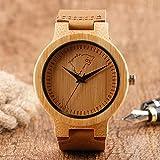 RWJFH Reloj de Madera Reloj de Madera Hecho a Mano con Esfera de Lobo con patín de Hielo único para Hombre, Correa de Cuero marrón, Reloj de Pulsera de bambú de Madera Natural para Regalo