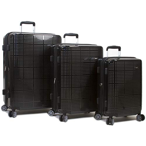 Dejuno Speck Hardside 3-Piece Expandable Spinner Luggage Set, Black