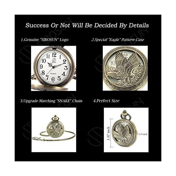 SIBOSUN Eagle Design Pocket Watch Chain Quartz Movement Arabic Numerals Half Hunter for Eagle Scout