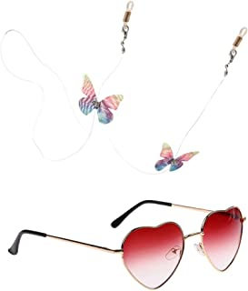 Dolity Vintage Women Lady Metal Frame Heart Shaped Sunglasses with Glasses Chain Lanyard Anti Slip Holder Strap Band Necklace Cord