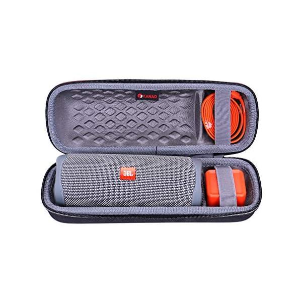 xanad hard case for jbl flip 5 speaker – travel carrying storage protective bag (outside black and inside grey)