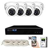GW Security 8 Channel 4K NVR 5MP H.265 IP Surveillance Security Camera System with 4-Piece Super HD 1920P Weatherproof Video & Audio Microphone PoE Security Dome Cameras