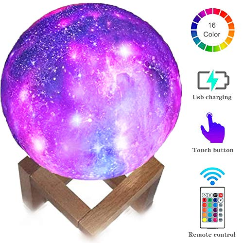 Hathdia Moon Light, 5.9 Inch 3D Printed Galaxy Moon Lamp 16 Colors Dimmable Rechargeable Night Lights for Family and Friends