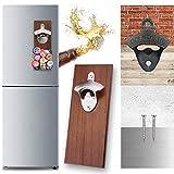 Abrebotellas de pared con chapas, abridor de cerveza, abridor de cerveza de madera, para frigorífico, hogar, fiesta, bar, sin montaje y supermagnético