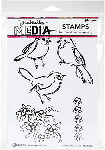 Ranger Scribbly Bird Cousins Dina Wakley Media Cling Stamps, 6