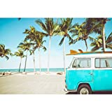 Cassisy 3x2m Vinilo Mar Telon de Fondo Playa de Arena Tropical Olas Automóvil Palmeras Cielo Soleado Fondos para Fotografia Party Infantil Photo Studio Props Photo Booth