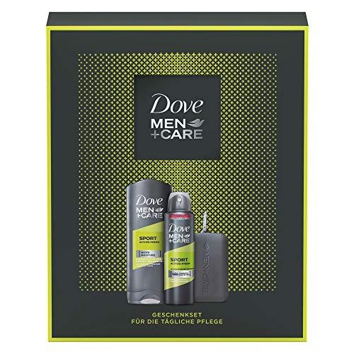 Dove Men+Care Geschenkset Sport Active + Fresh für gepflegte Haut mit Duschgel, Deospray und Handtuch (250 ml + 150 ml)