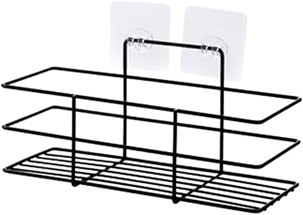 YLCOYO Punch Free Household Bathroom Rack Adhesive Wash Cosmetics Wrought Iron Storage Rack
