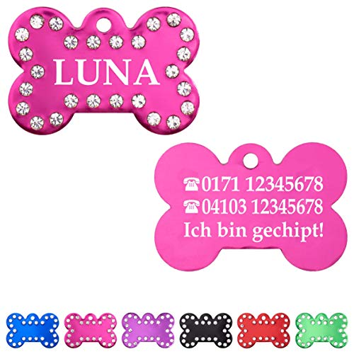 Iberiagifts - Hundemarke Knochen mit Strasssteinen und Gravur für mittelgroße bis große Hunde- Plakette für Hund und Katzen graviert personalisiert (Pink)