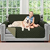 Sofa Shield Original Patent Pending Reversible Loveseat Protector for Seat Width up to 54 Inch, Furniture Slipcover, 2 Inch Strap, Couch Slip Cover Throw for Pets, Dogs, Love Seat, Hunter Green Sage