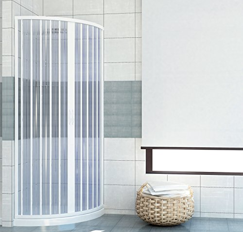 Box doccia estensibile PVC semicircolare anta unica apertura centrale 70/80
