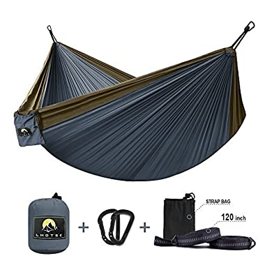 LHOTSE Best Quality 2 Person Double Hammock - 120 (L) x 80 (W), 1000lbs Strong Capacity, 120  Long Tree Straps, Lightweight Parachute Nylon Hammock for Backpacking, travel, camping, beach, backyard