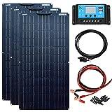 YUANFENGPOWER Kit de panel solar de 300 w 3 piezas Módulos solares flexibles de 100 W Módulo mono Controlador solar de 30 A para barco, automóvil, caravana, carga de batería de 12V (300)