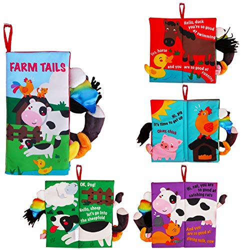 beiens Baby Books Toys  Touch and Feel Crinkle Cloth Books for Babies  Infants & Toddler  Early Development Interactive Car & Stroller Soft Toys for Boys & Girls (Farm Tails-1 Book)