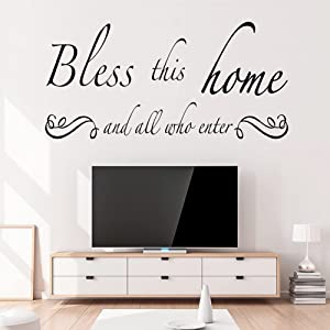OOTSR Wall Decals,Bless This Home and All who Enter Removable Mural Stickers, Prayer Vinyl Wall Decal for Living Room Dining Room Entryway and Bedroom Wall Decal Home