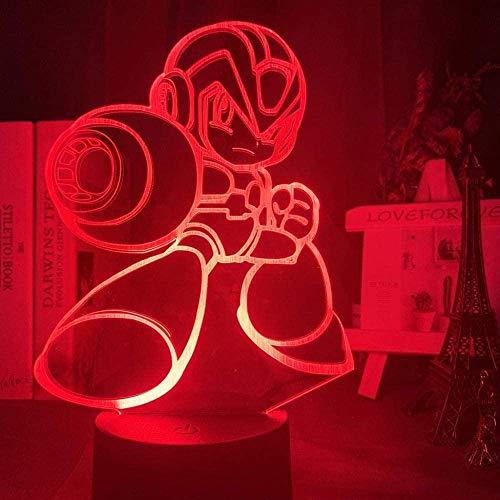 ADIS 3D Illusion Lampe führte Nachtlicht Nacht Spiel Mega Mann Figur Kind Touch Sensor Bunte Rockman Geschenk für Kinder Schlafzimmer Tischlampe Megaman Kinder Schlaflampe