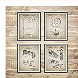YIUYUEKAI Carteles e impresiones de planos de fútbol vintage Campo de fútbol Balón de fútbol Bota Red de portería Diseño Arte de la pared Pintura Decoración para el hogar - 30x40cm x4 Sin marco