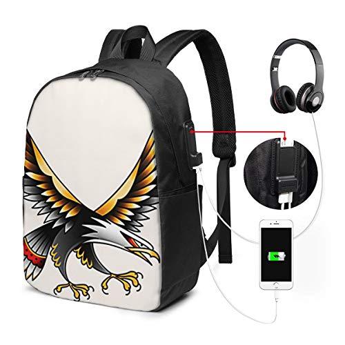 WEQDUJG Mochila Portatil 17 Pulgadas Mochila Hombre Mujer con Puerto USB, Flying Eagle Color Tattoo Mochila para El Laptop para Ordenador del Trabajo Viaje
