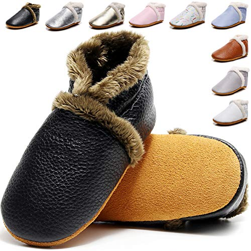 Lvptsh Zapatos de Bebé Zapatos Primeros Pasos de Cuero Suave para Niños Zapatillas de Casa Pantuflas Infantiles Patucos Mocasin Niñas Niñito 0-24 Meses