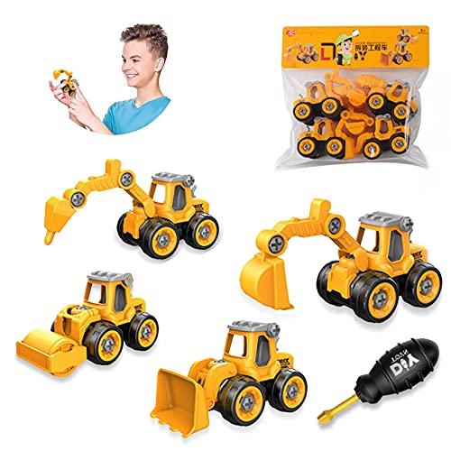 Bagger Spielzeug,4 in 1 BAU Jungen Spielzeug,4 Stück Engineering Bagger Set,Baufahrzeuge Lernspielzeug für Kinder,Zerlegen Spielzeug DIY,LKW Bagger Spielzeug.