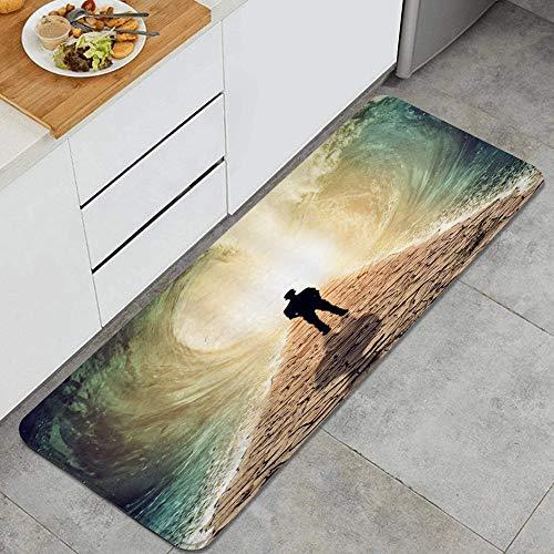 LISNIANY Alfombras para Cocina de Cocina Absorbente Alfombrilla,Hombre Ocean Wave Arte Abstracto Lonely Boy Stand Tierra de Suelo seco Que Entre enormes Olas en Aumento Escena de la Naturaleza mágica