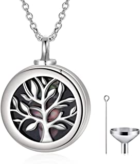 925 Sterling Silver Tree of Life Urn Necklace for Ashes Photo Locket That Hold Pictures Keepsake Necklace Cremation Jewelr...