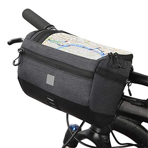 Bike Handlebar Bag Bicycle Handlebar Bag Storage Basket Bag Bicycle Front Bag Bicycle Handlebar Bag for Road MTB Outdoor (Color : Black, Size : 3L)