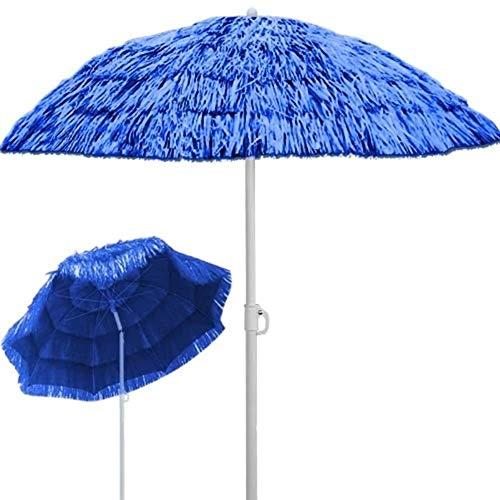 Ombrellone Spiaggia in Paglia Hawaii in Rafia Sintetica Rotondo Diametro 240Cm Inclinabile Regolabile Protezione UV E Acqua,Blu