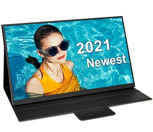 HONGO 100% sRGB Portable Monitor 15.6 Inch Metal Frame 2nd Monitor FHD 1080P HDR IPS Computer Screen...