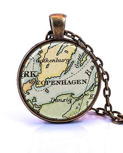 heng yuan tian cheng Kopenhagen Kaart Hanger Ketting, Gemaakt van een 1891 kaart. Kaart Sieraden, Kaart Ketting, Kaart Hangend, Aangepaste Sieraden, Gepersonaliseerde Sieraden