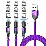 マグネット 充電ケーブル 3in1 360度+180度回転 Melonboy マグネット ケーブル QC3.0 急速充電とUSB2.0データ転送 5ピン月形の磁気 ケーブル ライトニング/Type-C/Micro/マイクロ USB コネクタ対応 (パープル)