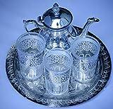juego de te marroqui ; arabe 3 vasos de cristal,1 tetera, 1 bandeja repujada de...
