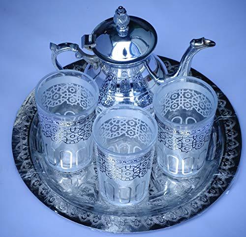 juego de te marroqui ; arabe 3 vasos de cristal,1 tetera, 1 bandeja repujada de 25 cm de diametro.