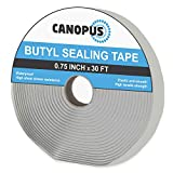 CANOPUS Butyl Seal Tape, White, 0.75in x 30ft, Very Strong, Heavy Duty, Waterproof Putty Tape, Repair RV, Home and Car Windows, Boats and, Patch Pipe Leaks, Glass
