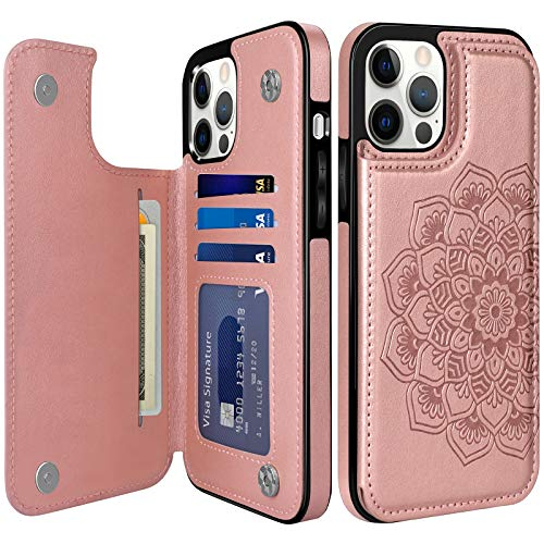 COOYA for iPhone 12 Pro Max Case Wallet Case, iPhone 12 Pro Max Flip Card Case Premium Leather Case for Women Magnetic Closure Card Holder Back Case Folio Phone Case for iPhone 12 Pro Max 6.7 Inch