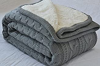 Comforbed Luxury All Season Soft Cable Sweater Knitting Throw Blanket Quilt Throw with Sherpa Lining for Bed Sofa Couch Decor Gray 51x63 Inch