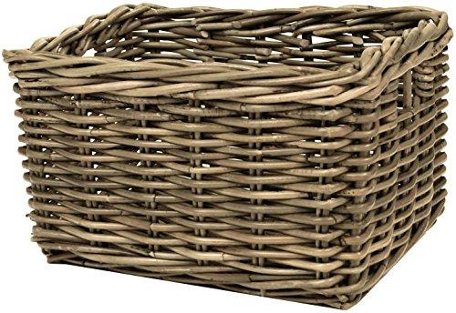 east2eden Grey Kubu Rattan Wicker Strong Deep Storage Shelf Display Kindling Basket (Small)
