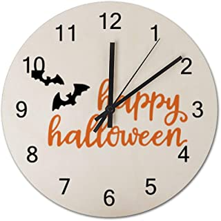 Chenxiaobo Happy Halloween 12 Inch Silent Wooden Round Wall Clock Arabic Numerals Wooden Home Decor Wall Clock