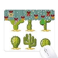 多肉植物の鉢植えのサボテンのパターン ゲーム用スライドゴムのマウスパッドクリスマス
