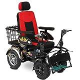 Elektro-Rollstuhl Leicht und Faltbare Rahmen großes Querland mit Voll liegend Rückenlehne abnehmbarem Fußpedal -