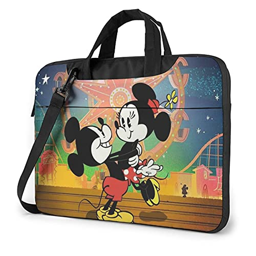 Cartoon Mickey Minnie Mouse Ferris Wheel Laptop Bag 14 15 16 Inch Briefcase Shoulder Bag Water Resistant Business Carrying Handbag for Women and Men14 inch